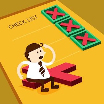 Biznesowy mężczyzna i krzyż ocena w listy kontrolnej pudełku