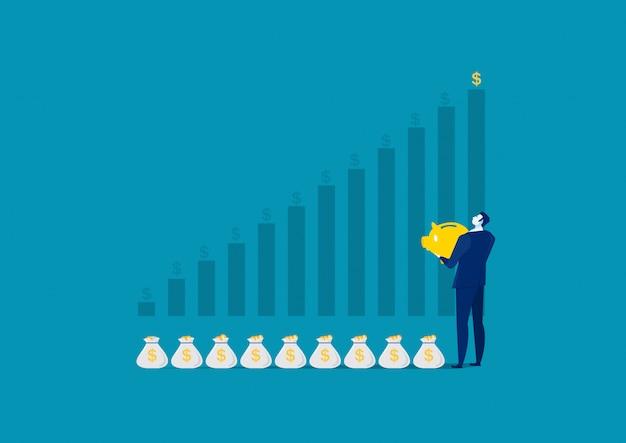 Biznesowy mężczyzna inwestuje pieniądze na moneybox pieniądze savings pojęciu
