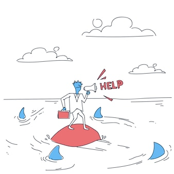 Biznesowy mężczyzna na wyspie w wodzie morskiej z rekinami wokoło zadawać pomocy pojęciu kryzys finansowy