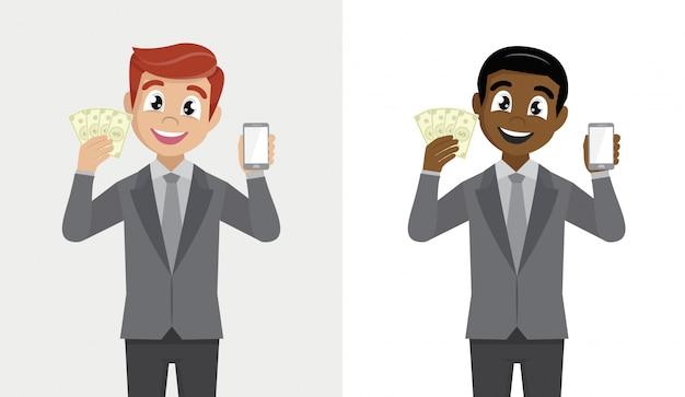 Biznesowy mężczyzna pokazuje gotówkę lub trzyma i.