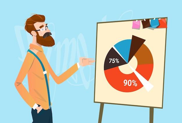 Biznesowy mężczyzna pokazuje pieniężnego kulebiaka diagrama finanse przyrosta