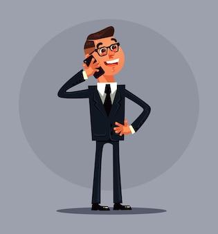 Biznesowy mężczyzna pracownik biurowy charakter rozmowy telefon. ilustracja kreskówka płaska