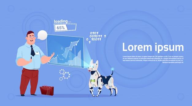 Biznesowy mężczyzna prowadzi prezentację na cyfrowym ekranie z robota psa projektorem
