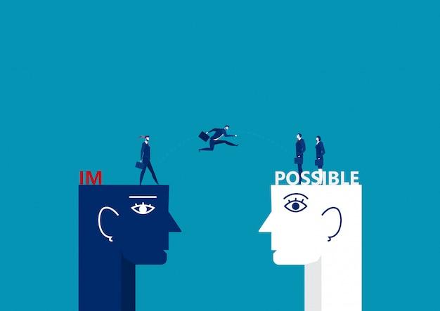 Biznesowy mężczyzna skacze nad dużą głową i łama niemożliwego w możliwego pojęcie wektoru ilustratora.