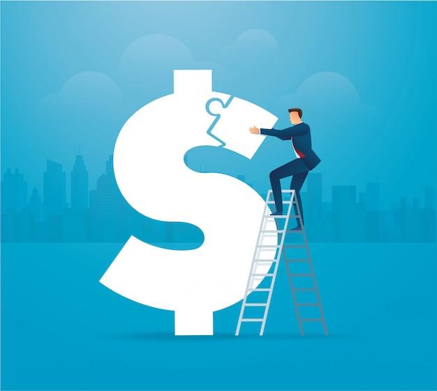 Biznesowy mężczyzna stawia łamigłówki dolarową ikonę wpólnie
