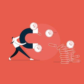 Biznesowy mężczyzna trzyma dużego magnes i przyciąga pieniądze, inwestorski przyciągania pojęcie. nowoczesna ilustracja