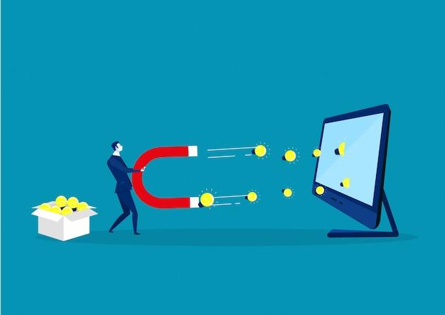 Biznesowy mężczyzna trzyma dużego magnes żarówki żarówki światło na laptopie