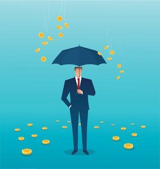 Biznesowy mężczyzna trzyma parasol, pieniądze spada z nieba