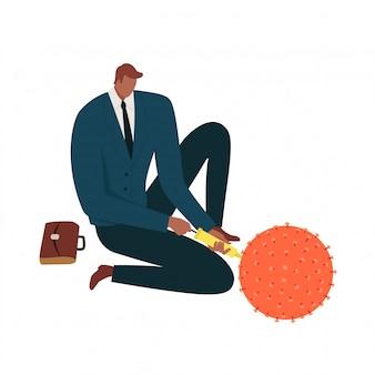 Biznesowy mężczyzna wstrzykuje koronawirusową komórkę