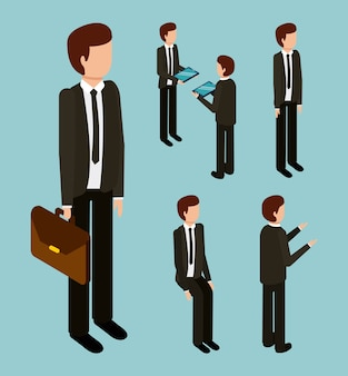 Biznesowy mężczyzna z kostiumu krawata teczką i gestem różnymi