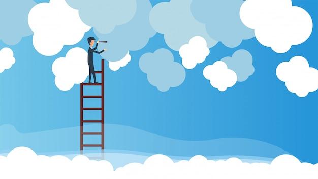Biznesowy mężczyzna z teleskopem na schodki w niebie