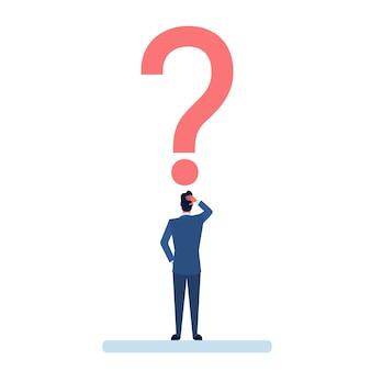 Biznesowy mężczyzna z znakiem zapytania rozpamiętuje problemowego pojęcie