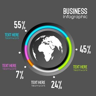 Biznesowy plansza diagramu z procentem koła i ikoną świata