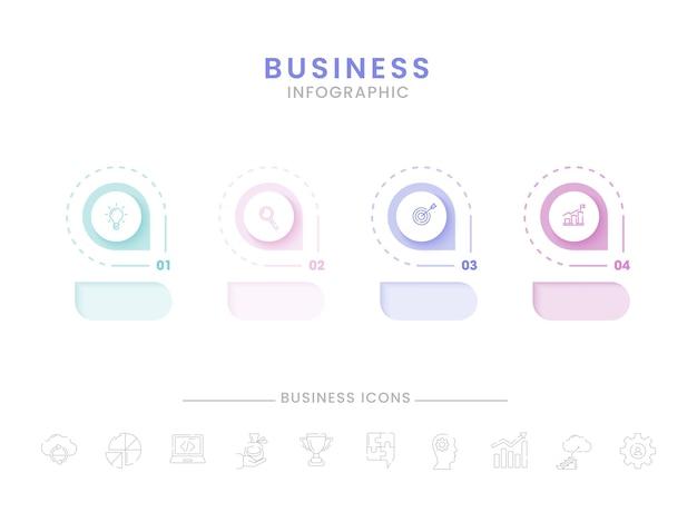 Biznesowy plansza projekt szablonu z czterema opcjami