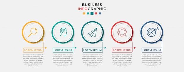 Biznesowy plansza szablon projektu z ikonami i 5 pięcioma opcjami lub krokami. może być używany do diagramów procesów, prezentacji, układu przepływu pracy, banera, schematu blokowego, wykresu informacyjnego