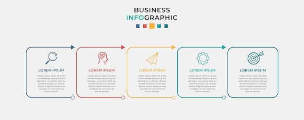 Biznesowy plansza szablon projektu z ikonami i 5 pięcioma opcjami lub krokami.