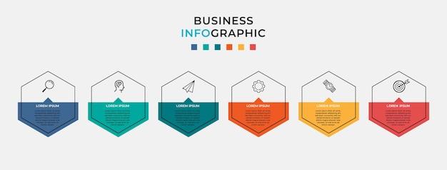 Biznesowy plansza szablon projektu z ikonami i 6 sześcioma opcjami lub krokami.