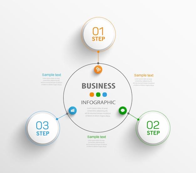 Biznesowy plansza szablon z 3 krokami lub opcjami