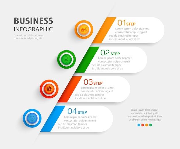 Biznesowy plansza szablon z 4 krokami