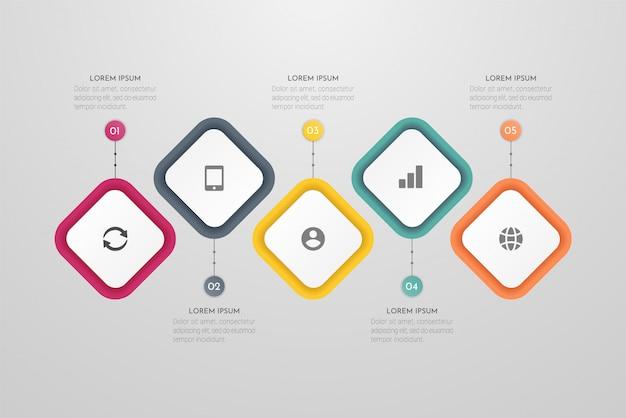 Biznesowy plansza szablon z 5 krokami lub elementami procesów