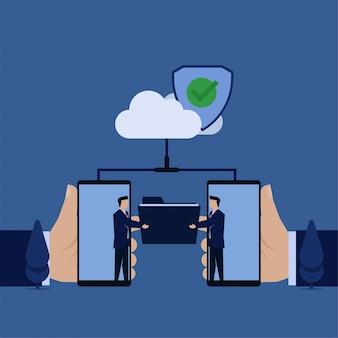 Biznesowy płaski biznesmen wymieniający folder z telefonu przez chmurę bezpiecznie bezpieczne udostępnianie danych.