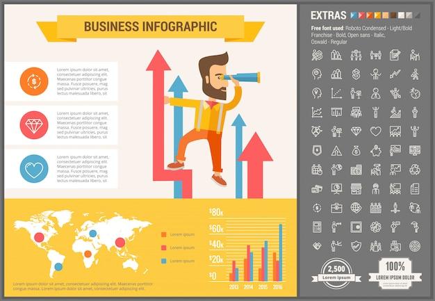 Biznesowy płaski projekt infographic szablon i ikony ustawiać