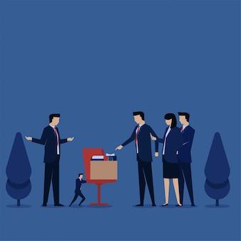 Biznesowy płaski wektorowy pojęcie biznesmen pcha krzesła wśród dużych ludzi metafory dyskryminacja i łobuz.