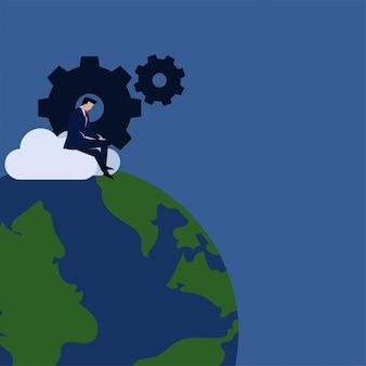 Biznesowy płaski wektorowy pojęcie biznesmen pracuje na chmurze z przekładni i kuli ziemskiej metaforą globalna aktualizacja.