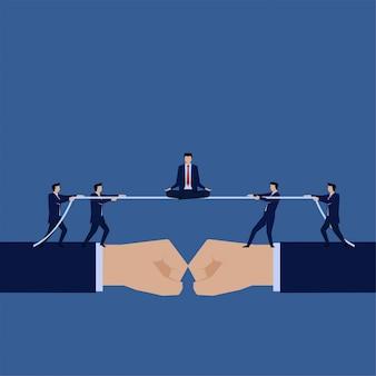 Biznesowy płaski wektorowy pojęcie biznesmen siedzi z joga pozą na konfrontaci.