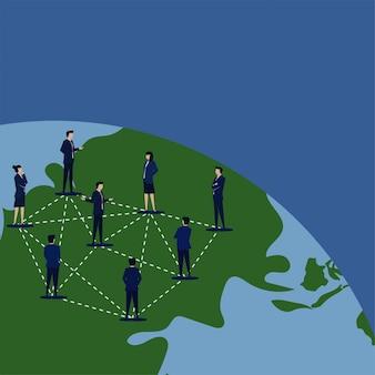 Biznesowy płaski wektorowy pojęcie kierownik łączył ludzie nad glob metaforą globalny związek.