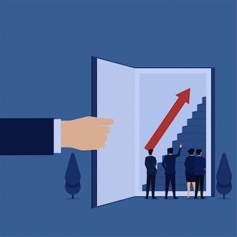 Biznesowy płaski wektorowy pojęcie kierownik wskazuje schodek na otwartej książkowej metaforze rosnąć z wiedzą.