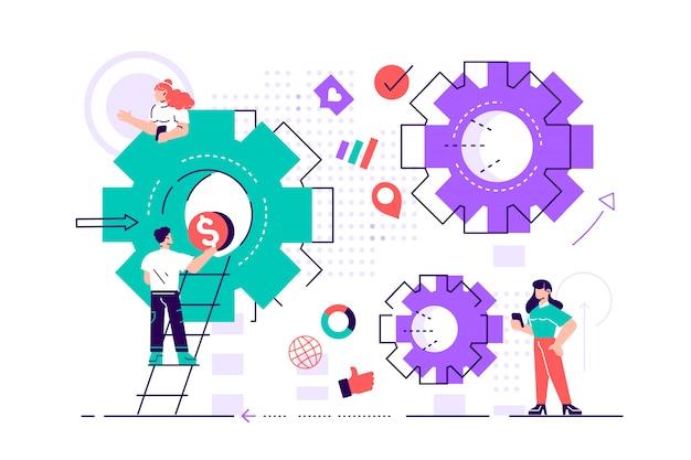 Biznesowy pojęcie ilustracja, mali ludzie łączy mechanizm, biznesowy mechanizm, abstrakcjonistyczny tło z przekładniami, ludzie angażuje w promocję biznesu, analiza strategii. płaski styl