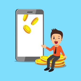 Biznesowy pojęcie kreskówki biznesmen z smartphone