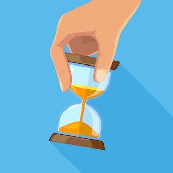Biznesowy pojęcie obrazek klepsydry w ręce. klepsydra czasowa, zegar z klepsydrą zegarową. ilustracji wektorowych
