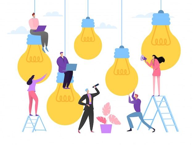 Biznesowy pomysł spotyka pojęcie, ilustracja. pracownicy zespołu firmy wybierają udany pomysł, kreatywną pracę zespołową. kobieta mężczyzna