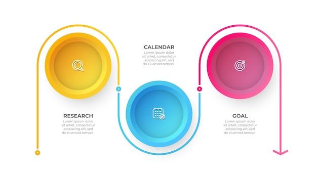 Biznesowy projekt etykiety szablonu infografiki z linią procesów okręgu i strzałki