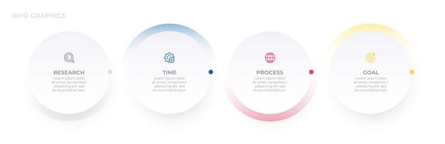 Biznesowy projekt etykiety szablonu infografiki z okręgami i ikonami proces osi czasu z 4 opcjami