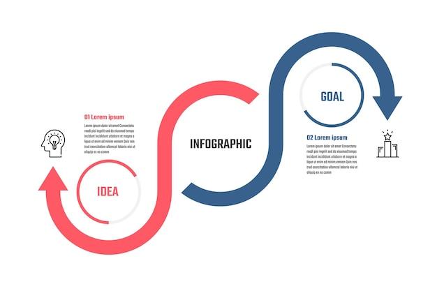 Biznesowy projekt infografiki 5 kroków na osi czasu ilustracje wektorowe