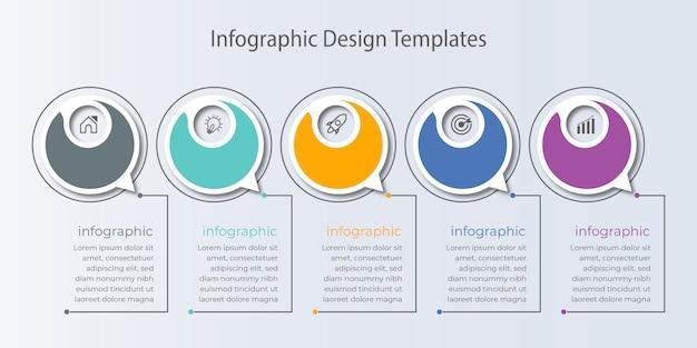 Biznesowy projekt infographic z koncepcją pięciu opcji lub kroków