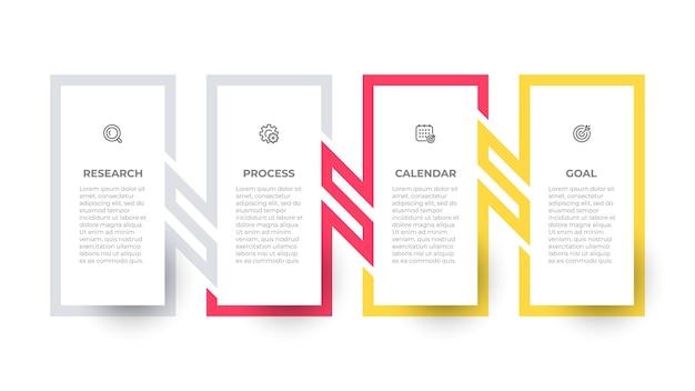 Biznesowy projekt szablonu prostokąta infografiki z ikonami i połączeniem linii procesowych