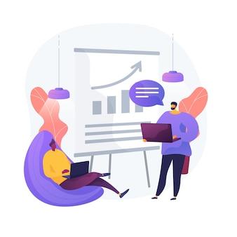 Biznesowy raport finansowy. postaci z kreskówek przedsiębiorców piszących biznesplan, analizujących dane i statystyki. grafika, informacje, badania. ilustracja wektorowa na białym tle koncepcja metafora