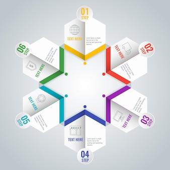 Biznesowy schemat infografiki z sześcioma krokami w kształcie gwiazdy