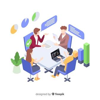 Biznesowy spotkanie przy biurowym ilustracyjnym pojęciem
