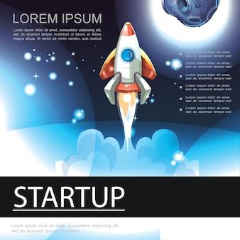 Biznesowy startowy kolorowy szablon z latającą rakietą na tle przestrzeni w stylu cartoon ilustracji