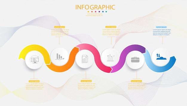 Biznesowy szablon 6 opcj infographic mapy elementów