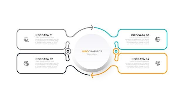 Biznesowy szablon infografiki cienka linia z ikonami i 4 opcjami