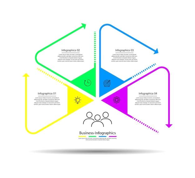 Biznesowy szablon infografiki kolorowy z czterema krokami