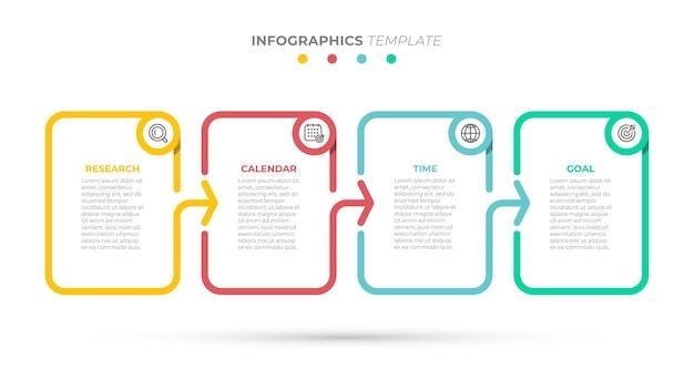 Biznesowy szablon infografiki kreatywne elementy projektu ze strzałkami i ikonami