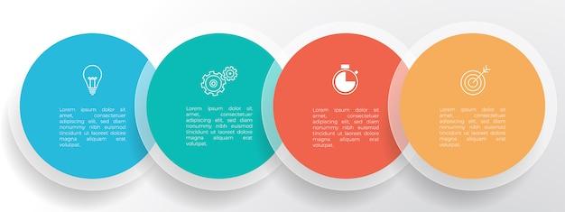 Biznesowy szablon infografiki osi czasu 4 opcje lub krok.