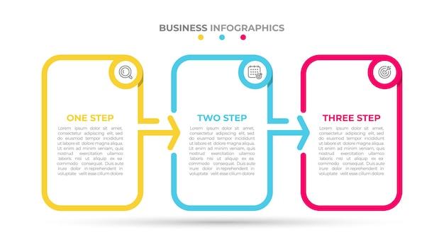 Biznesowy szablon infografiki ze strzałkami i 3 opcjami